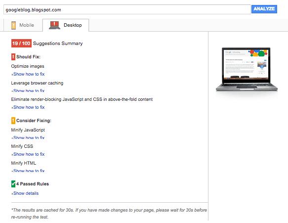 Google Pagespeed Insights Result of Desktop Google Official Blog