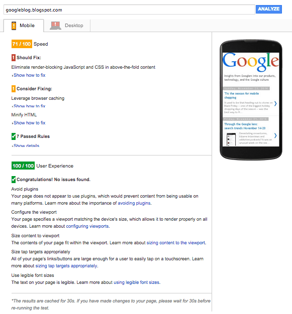 Google Pagespeed Insights Result of Mobile Google Official Blog