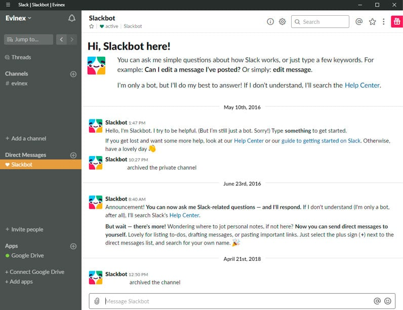 Slack app screenshot