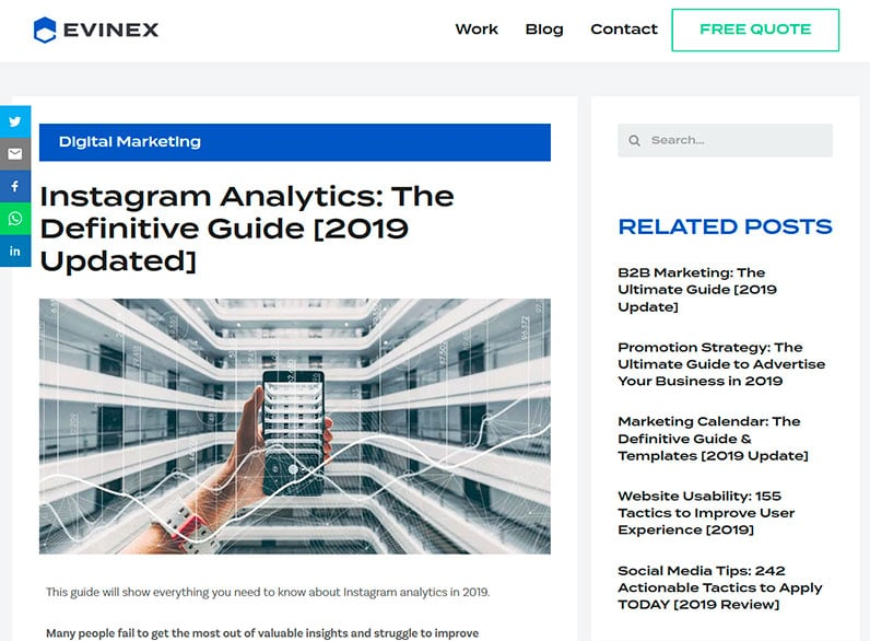 Evinex's Instagram Analytics post updated 2019