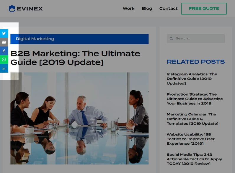 Evinex's B2B Marketing post with social share buttons highlighted