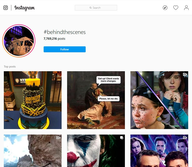 Instagram search results for hashtag behindthescenes