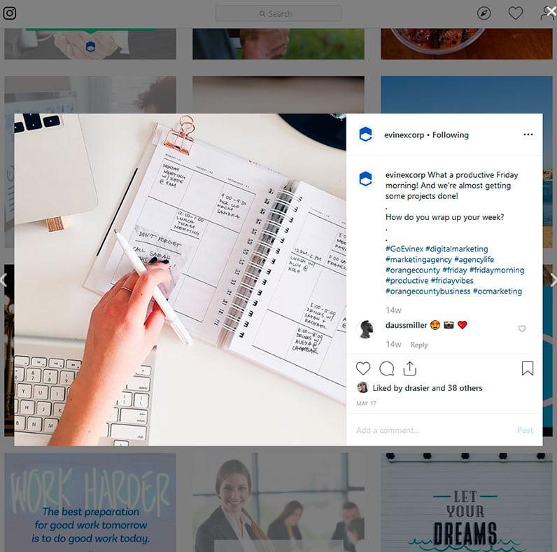 Evinex's Instagram post example