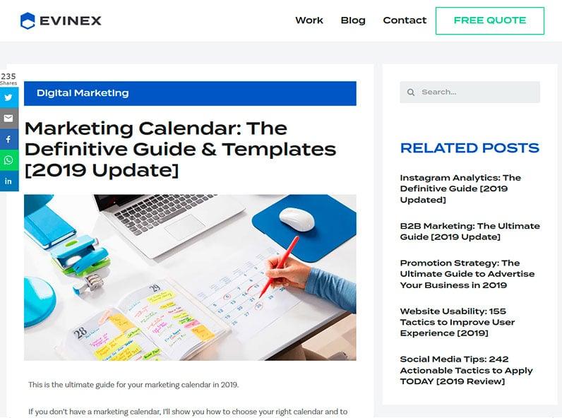 Evinex's Marketing Calendar post 2019 updated