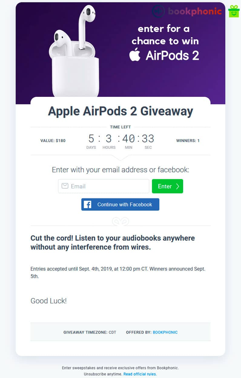 Bookphonic Apple AirPods giveaway screen