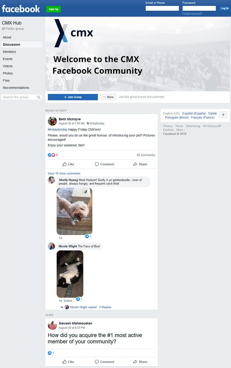 CMX Hub discussion Facebook page