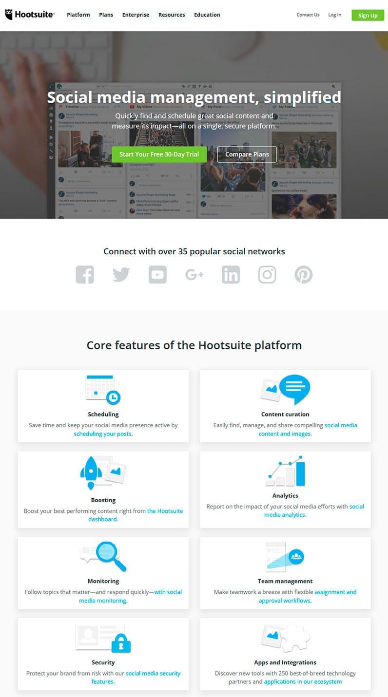 Hootsuite website showing core features