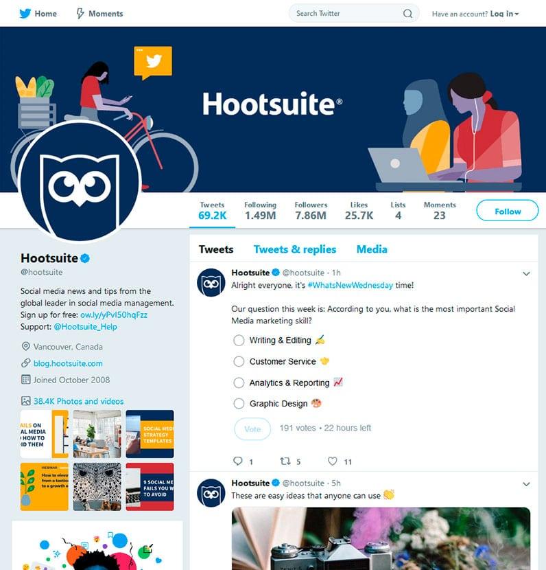 Hootsuite Twitter Profile screenshot