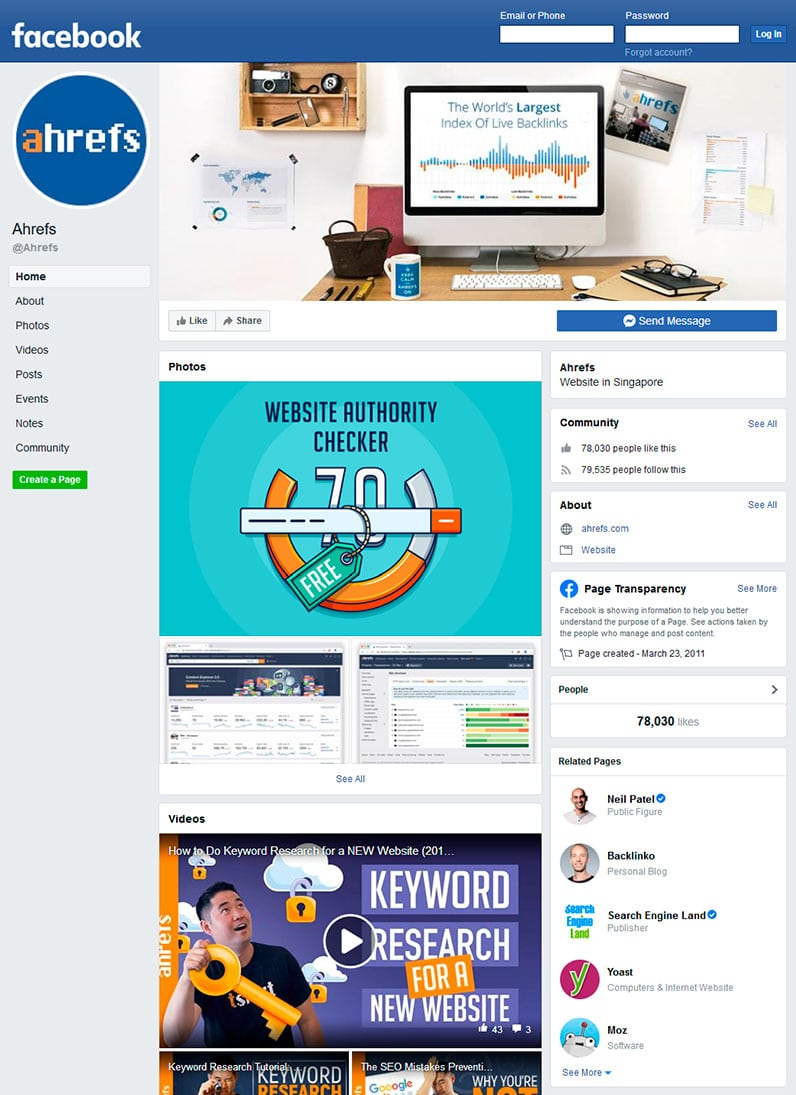 Ahrefs's Facebook profile page