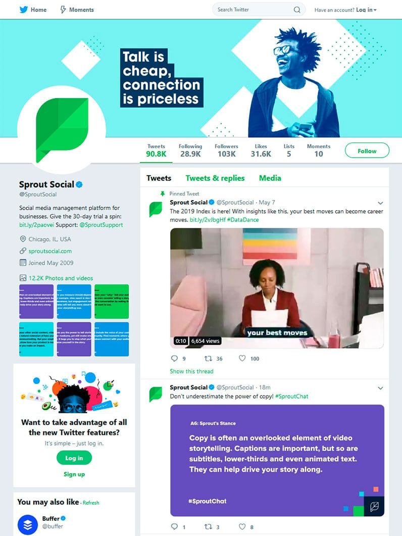 Sprout Social Twitter profile page
