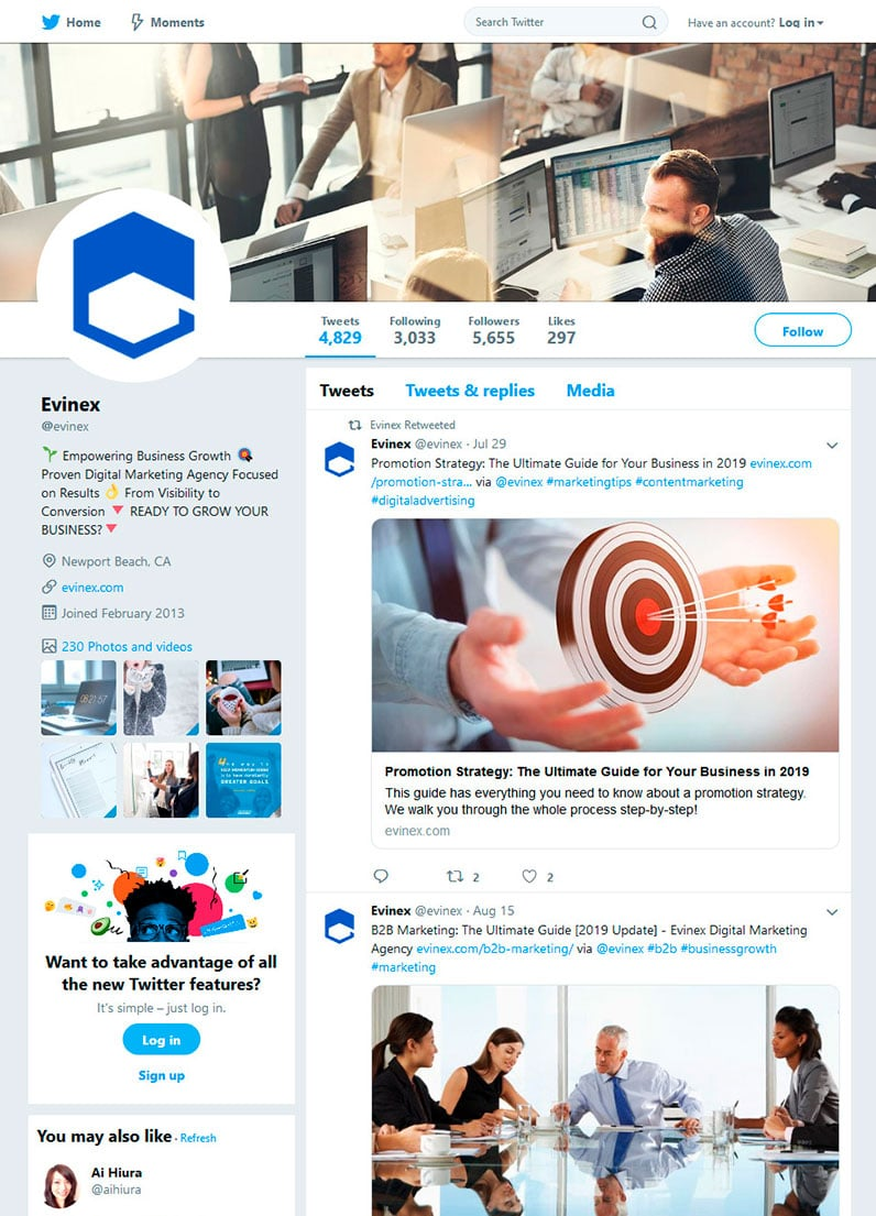 Evinex's Twitter profile page