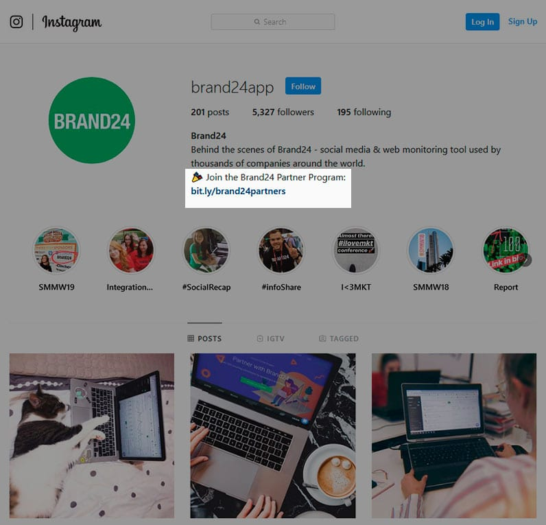Brand24 Instagram profile with a call to action highlighted