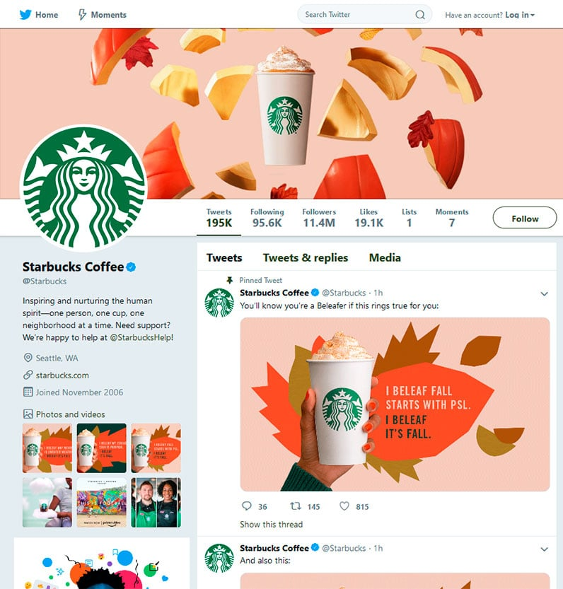Starbucks' Twitter profile page