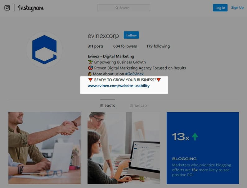 Evinex's Instagram page with the URL highlighted