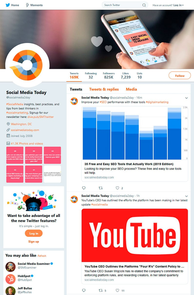 Social Media Today's Twitter profile page