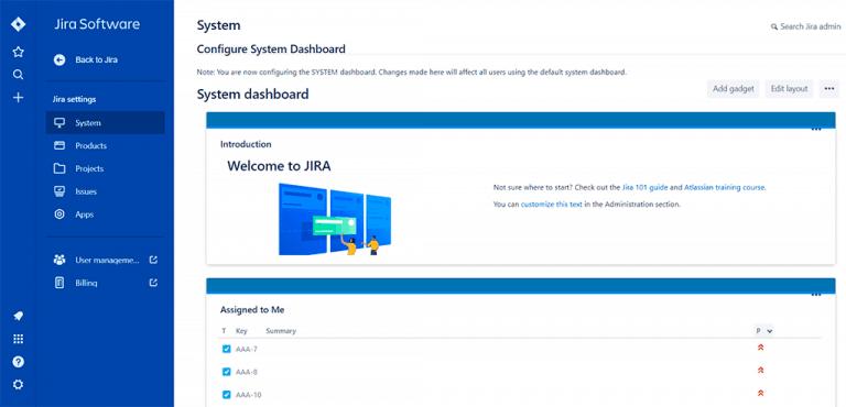 Jira Configure System Dashboard