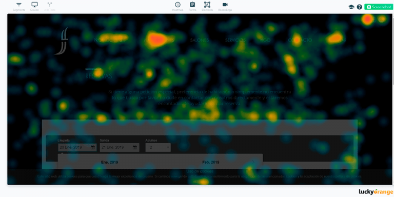 Screenshot of Lucky Orange Tool Heatmaps