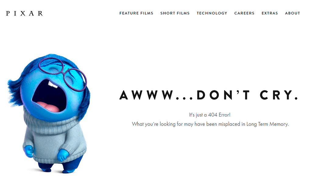 Pixar's cute 'page not found' page showing a sad/crying cartoon.