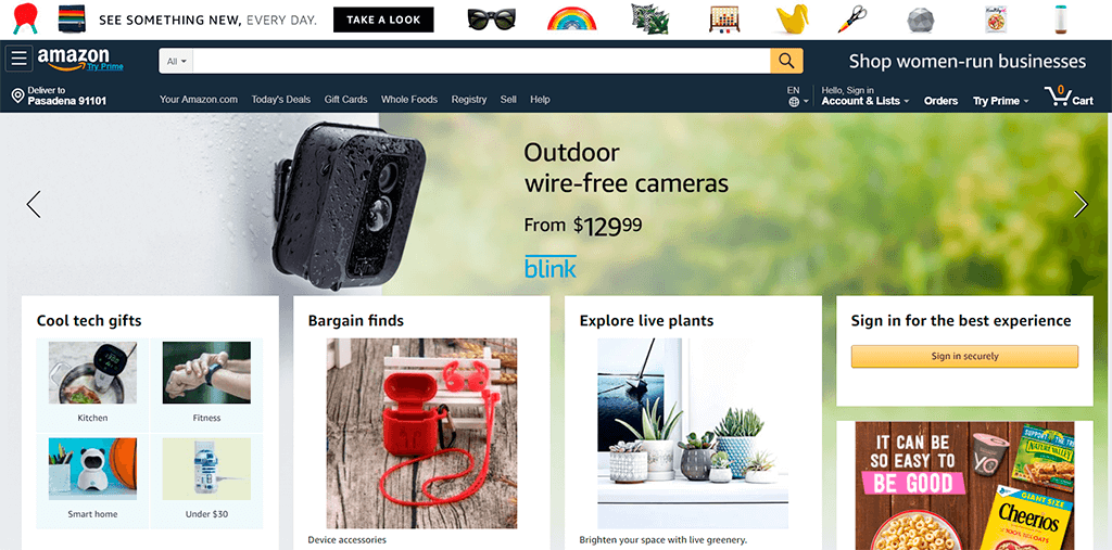 Amazon website screenshot as an example of website availability and mobile friendliness.