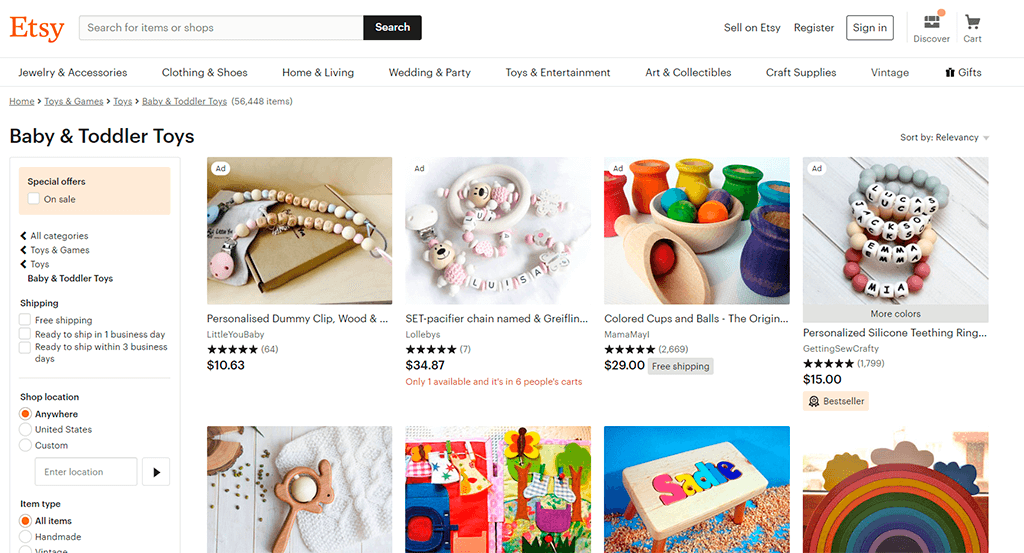 Etsy website screenshot showing the right way to place and use breadcrumbs.