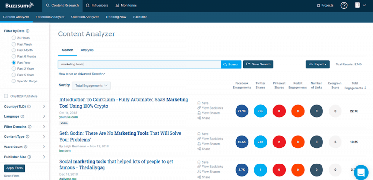 content analyzer - buzzsumo