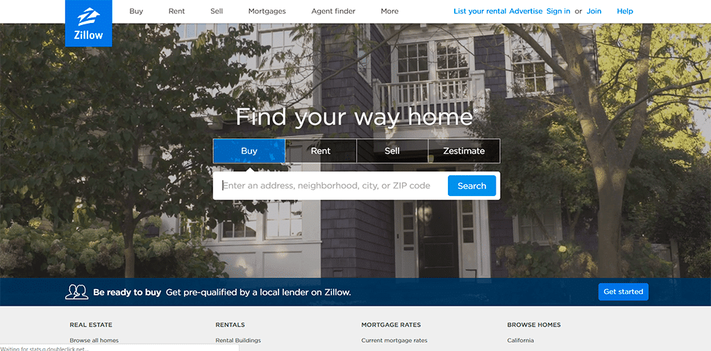 Zillow website screenshot as an example of website clarity.