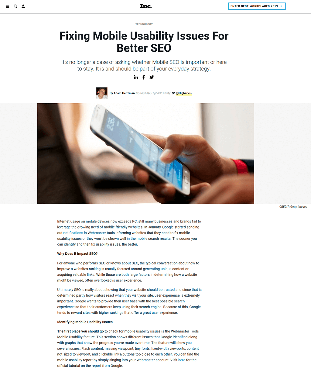 Inc. website article about Fixing Mobile Usability Issues for Better SEO. Showing title, image and content.