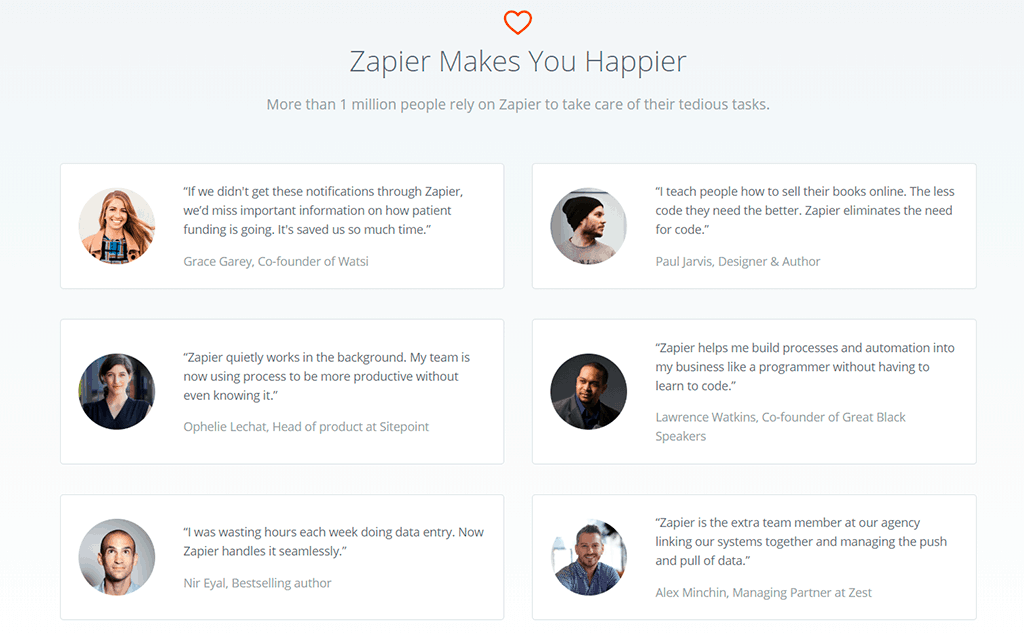 Zapier website screenshot. Testimonials page showing six testimonials of happy customers.