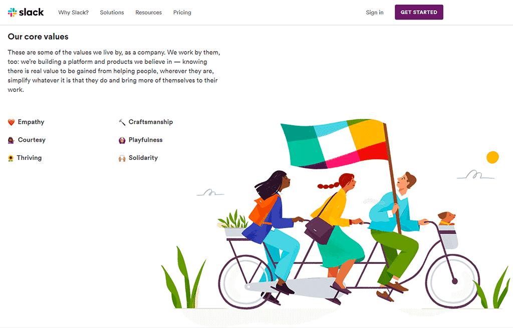 Slack website screenshot showing custom graphics. Illustration of people riding a tandem bicycle