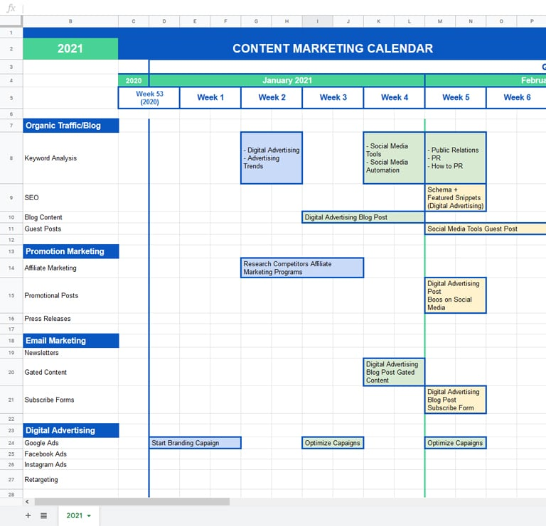 content marketing weekly calendar made in google sheets with tasks examples