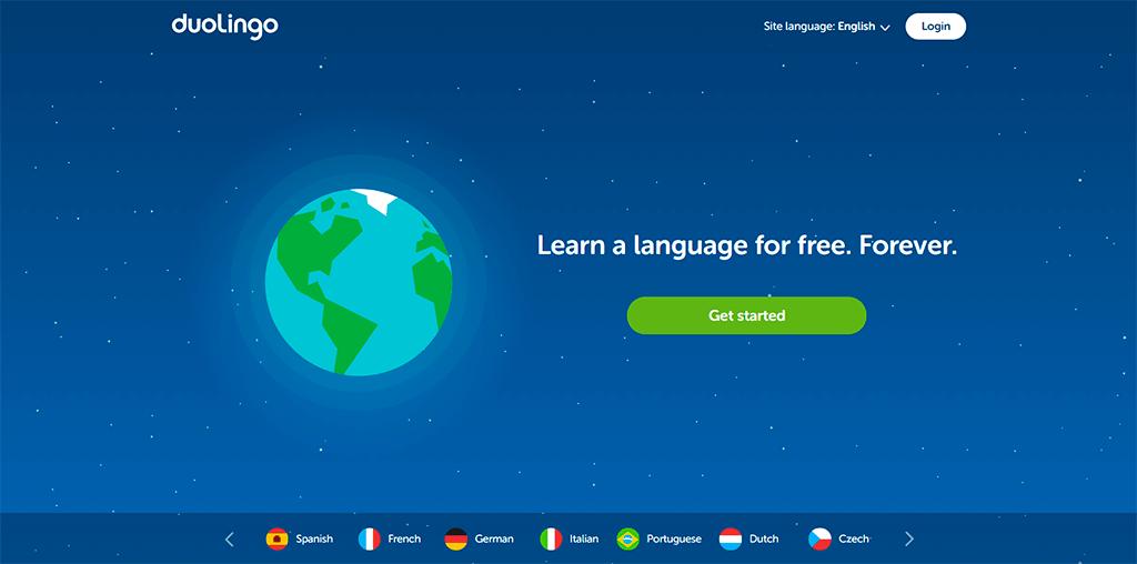 Duolingo homepage screenshot.