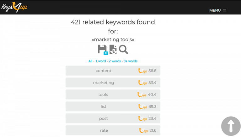 Keys4Up LSI keywords results for marketing tools