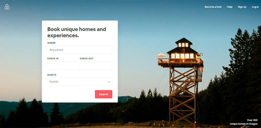 Airbnb website screenshot as an example of Website leanability.