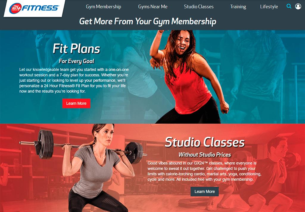 24h Fitness website screenshot