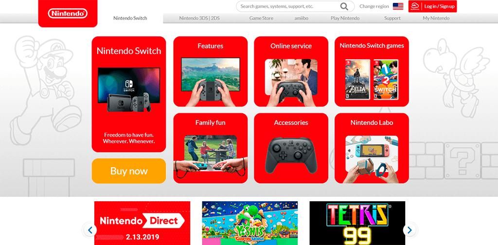 Nintendo website screenshot showing an excellent navigation menu. UX friendly.