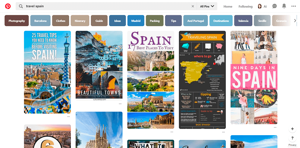 Pinterest search results for keyword: travel as an example of easy navigation.