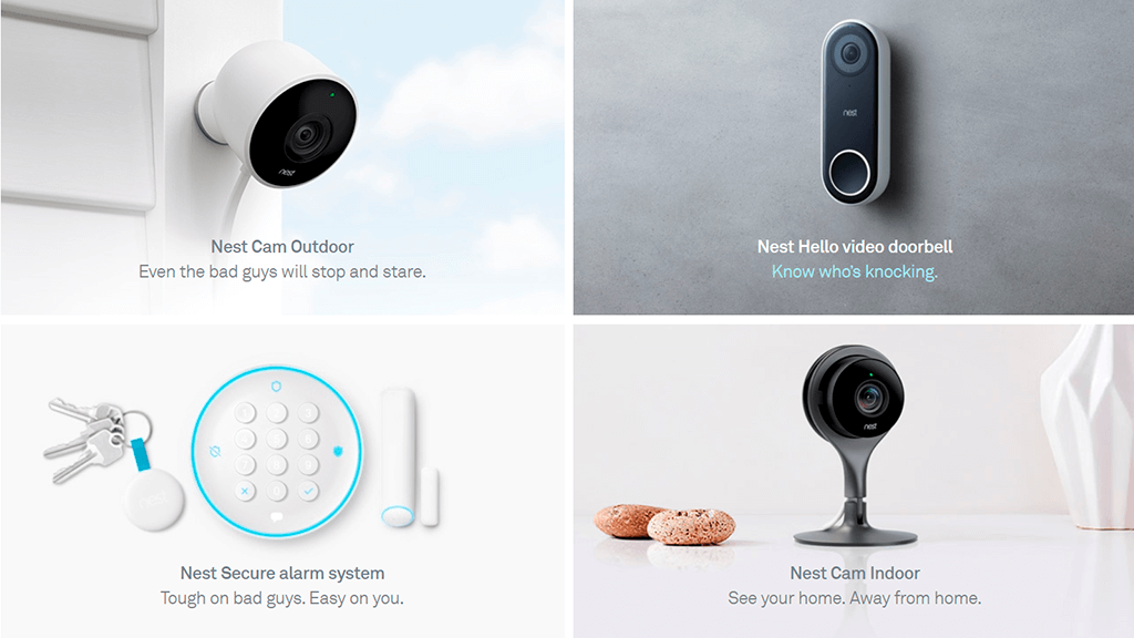 Google's Nest Product Page screenshot with grid layout.