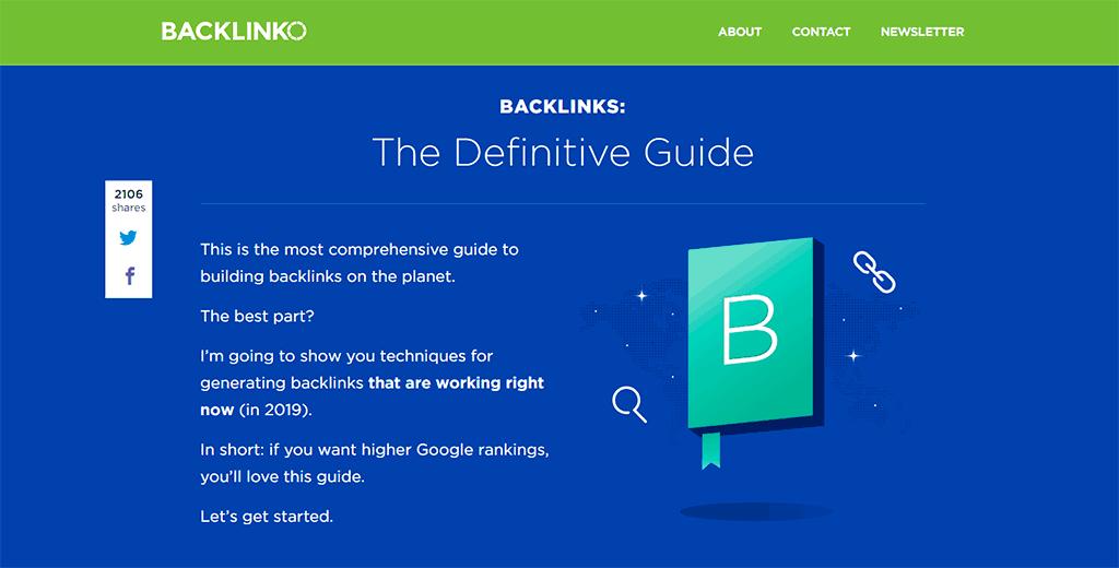 Backlinko website screenshot as an example of website readability.