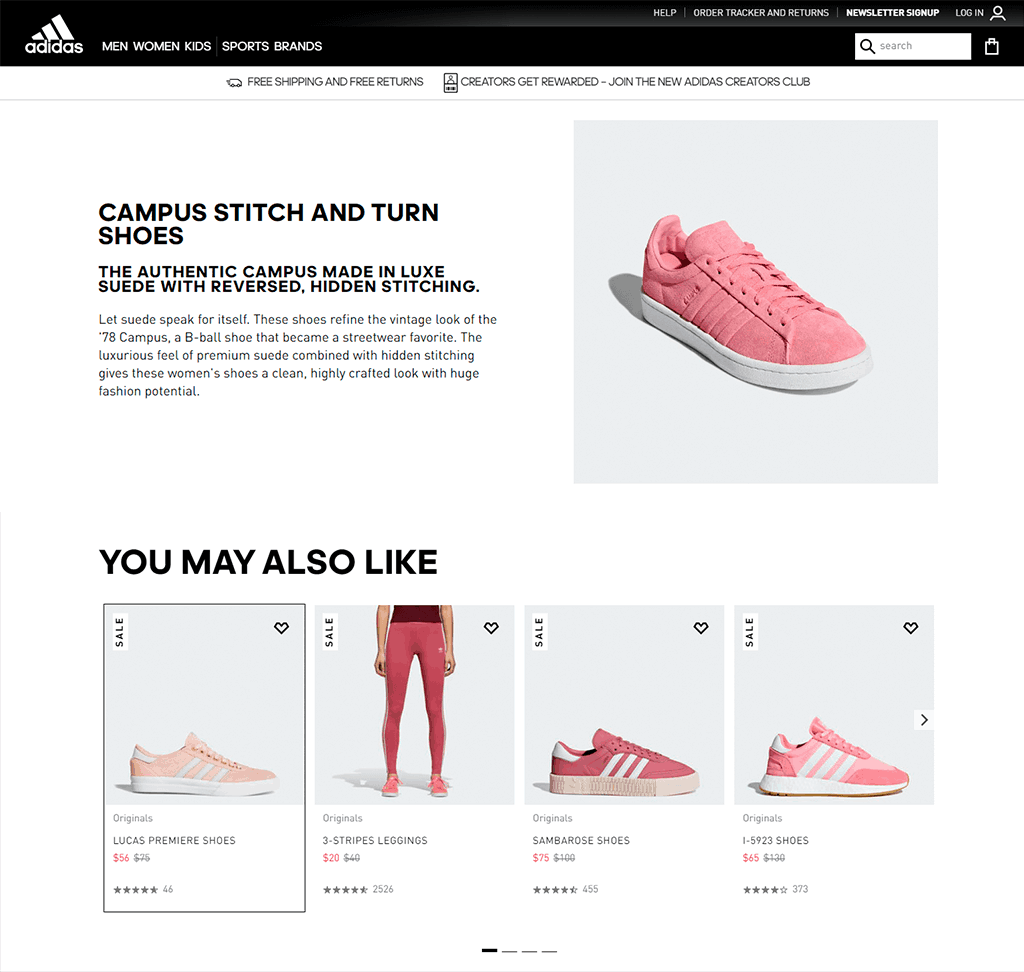 Adidas product page example showing pink women sport shoes and recommended products.