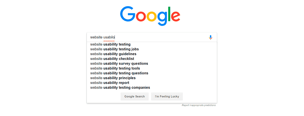 Google's autocomplete functionality in main search page.