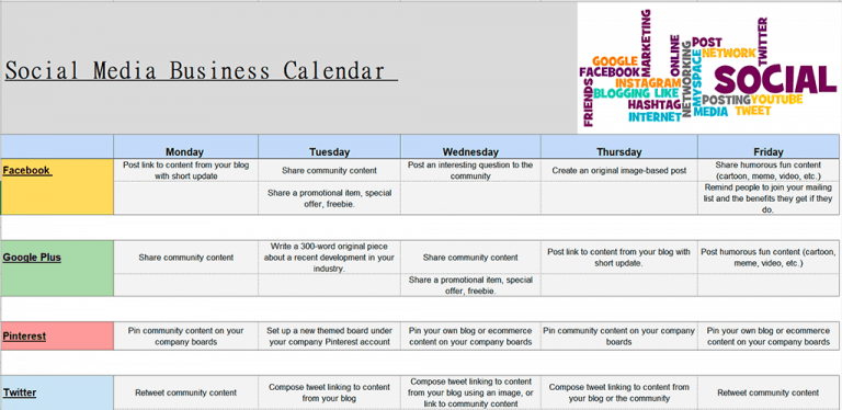 social media marketing calendar - met