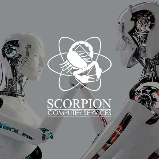 Two robots shaking hands background image with Scorpion Computer Services logo in white