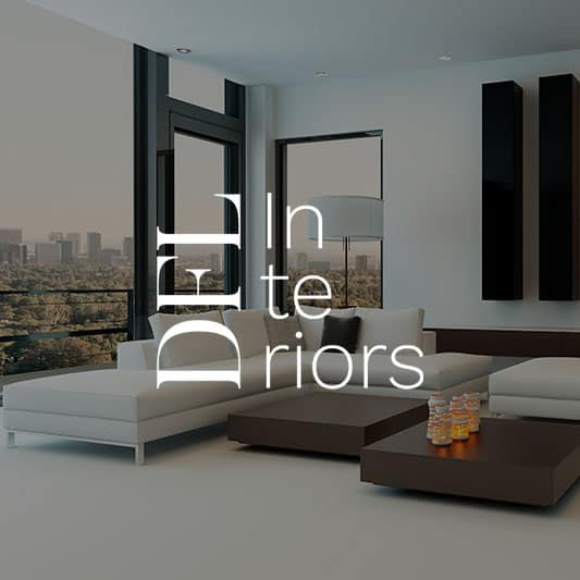 Living Room decoration background image with DFL Interiors logo in white