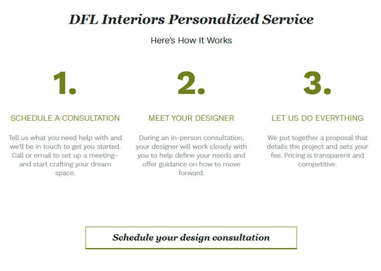 Call to action example seen on DFL Interiors website