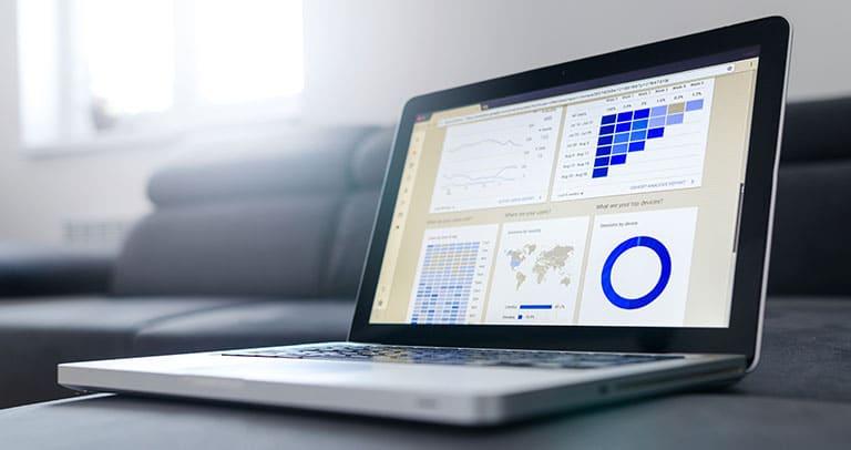 tracking metrics graph laptop