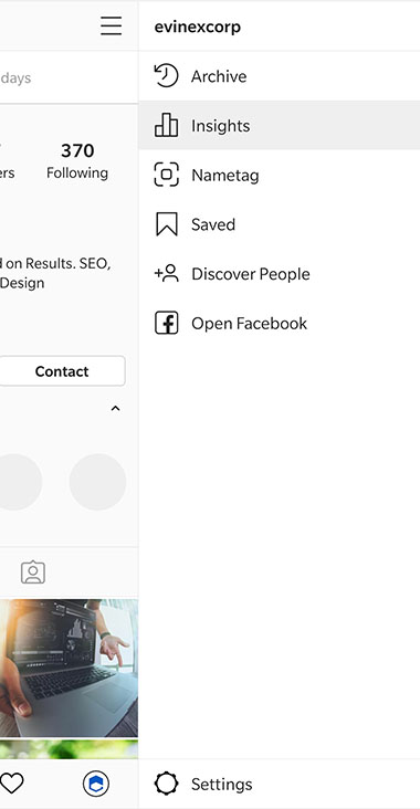 instagram app side optinos menu with insights option highlighed