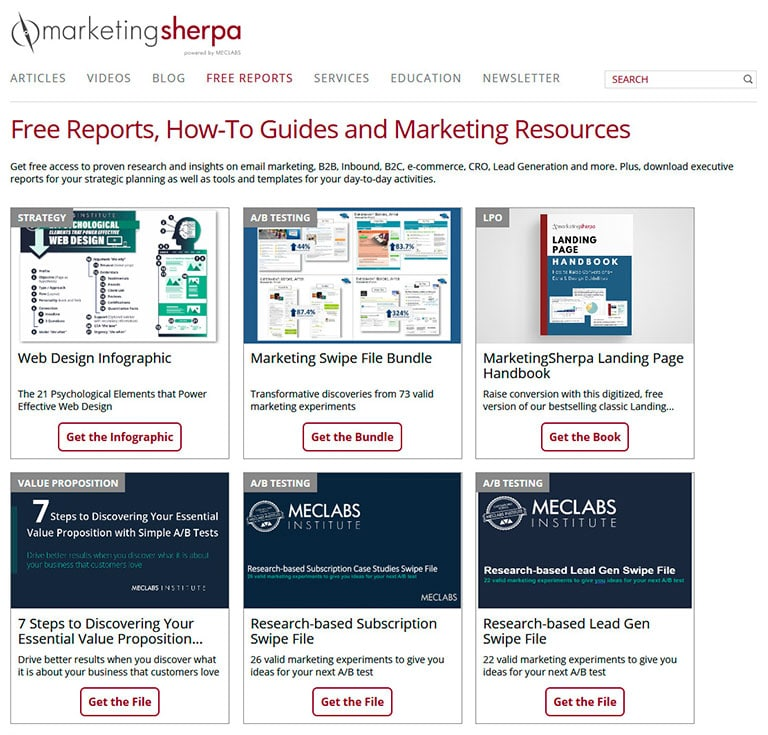 Marekting Sherpa website showing free reports for download
