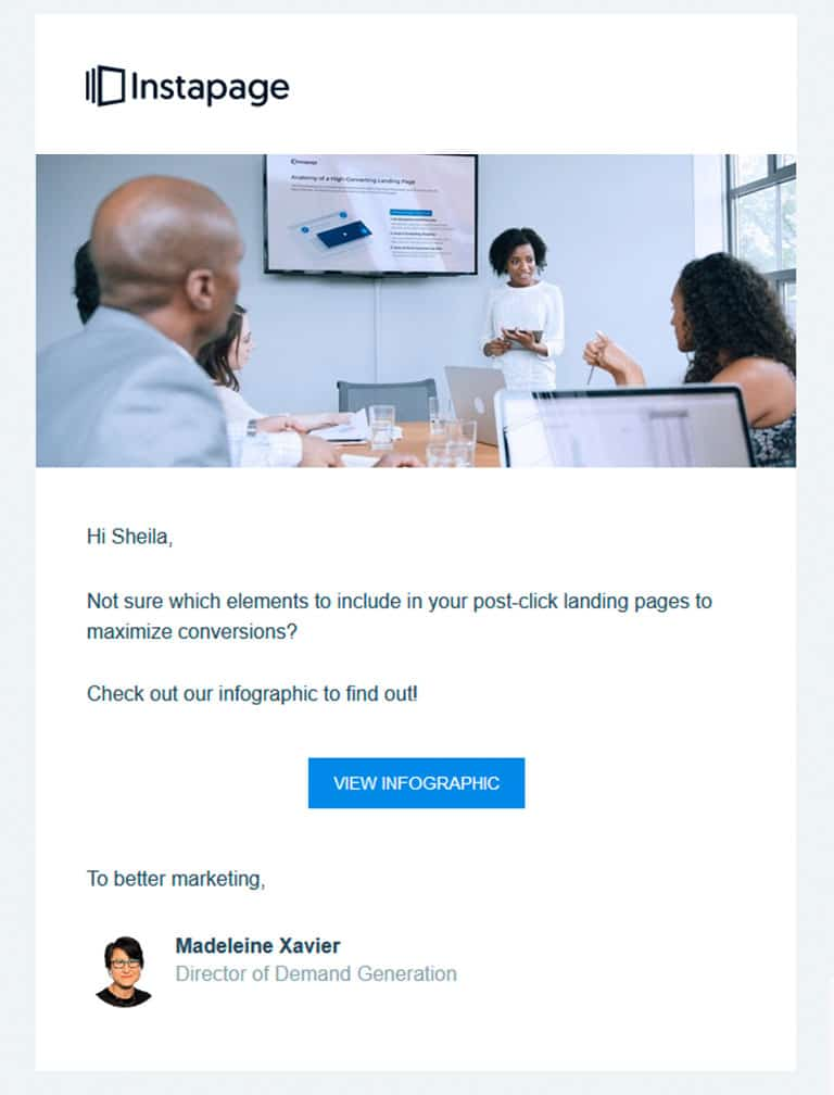 Instapage personalized email