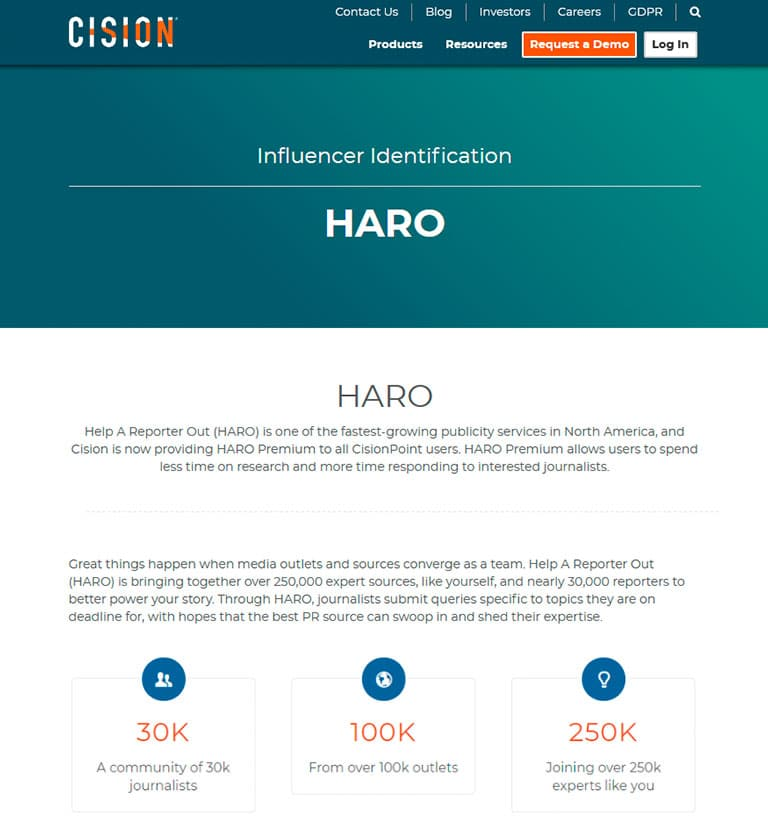 HARO Cision home page