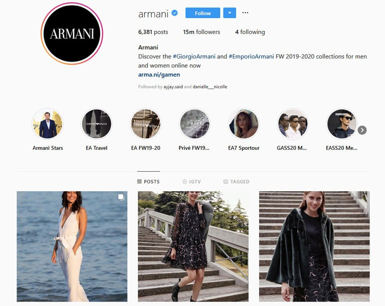 instagram armani captivating profile